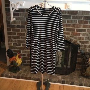 J CREW Black/White stripe dress  with detail